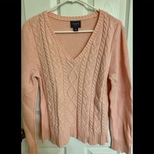 Chaps Pink Cable Knit V-Neck Sweater Size XL GUC